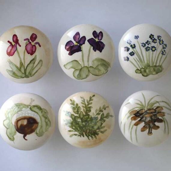 Hand painted knob custom ceramic cabinet knobs in woodland for Painted ceramic cabinet knobs