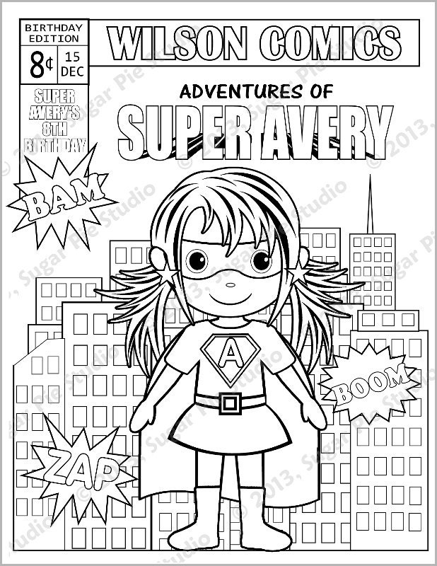 Personalized Printable Comic book SuperHero Girl by ...
