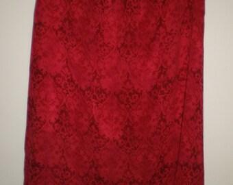Red Silk Pixie Hem Chico's Skirt