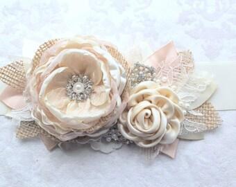 """Ivory Blush Champagne Burlap Wedding Ribbon Sash """"Diana""""/ Handmade Bridal Sash"""