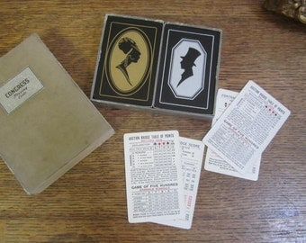 2 Decks of Congress Playing Cards. Art Deco Silhouette..... Black  Gold and Silver. Made in the U.S.A