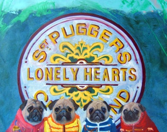 "Pug Art Print of and original oil painting -""Sargeant Pugger's Lonely Hearts Club Band""-Beatles-Dog art"