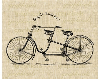 Vintage bicycle built for two Instant digital download image for iron on fabric burlap transfer decoupage pillow card paper Item No. 2079