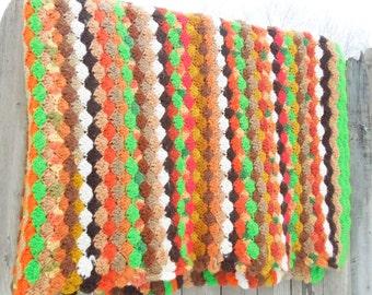 """SALE - Vintage green / lime-green brown orange tan mustard beige white crochet afghan blanket throw 82"""" x 56"""""""