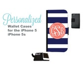 Stripe iPhone 5 Wallet Case - Personalized iPhone 4/4s  Wallet Case - Samsung Galaxy S3 and S4 Wallet Case