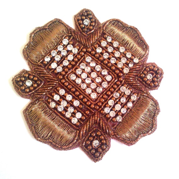 Beaded Embroidery Patch Indian Applique with zari work, bullion, silk embroidery, rhinestones