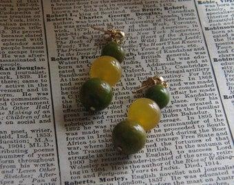Honey and Moss Green Bakelite Dangle Earrings