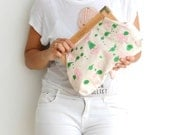 vegan clutch, hand painted clutch, printed canvas, green and pink