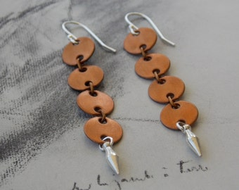 Copper and Silver Long Dangle Earrings, Vintage Copper Chain, Sterling Silver, Mixed Metal Earrings, Modern , Minimalist Jewelry