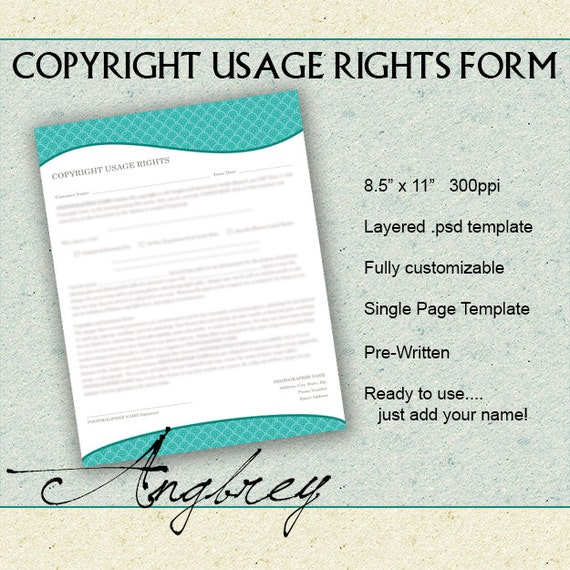 Copyright Usage Rights Form For Photographers Print Release