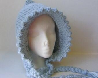 Hand Knit Hat, Womans Hat, Warm Hood in Light Blue, Blue Lady Bonnet