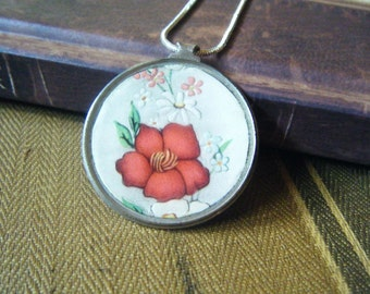 Antique Monocle reversible flowers/ vintage sheet music pendant, found object, assemblage