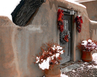 Holiday Winter Wall Art, New Mexico Christmas, poppy red, peppers, steel grey, southwest adobe cottage photograph, 5x7 photo print