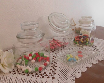 Wedding Candy Bar Buffet Clear Ornate Glass Dish Set Apothecary Jar Storage Bridal Baby Shower Birthday Party Vintage Decoration