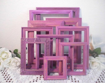 Radiant Orchid Frame Set Photo Picture Shabby Paris Chic French Country Beach Cottage Tropical Home Decor Wedding Wall Gallery Collection