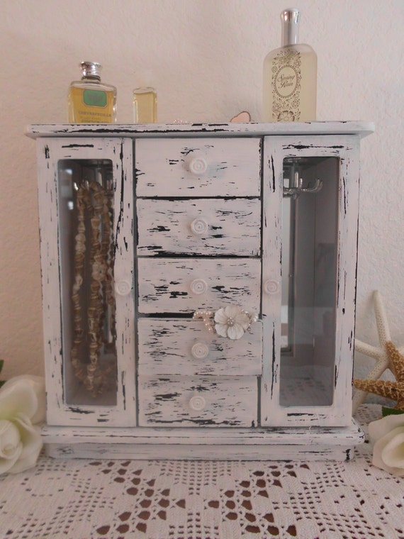 White Jewelry Box Tall Rustic Shabby Chic Beach Cottage French Country Farmhouse Home Decor Distressed Birthday Christmas Gift For Her Large