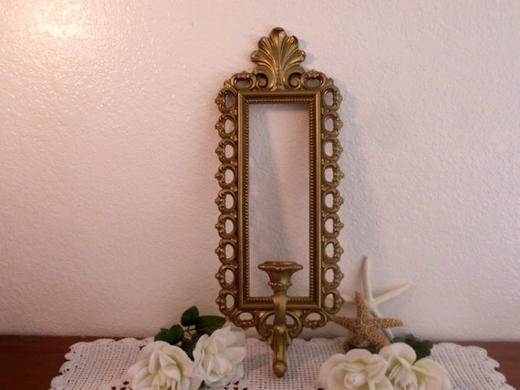 Hollywood regency sconce vintage syroco gold candle stick for Hollywood regency wall decor