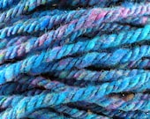 Handspun Yarn Turquoise Sparkly BRIGHT EYES
