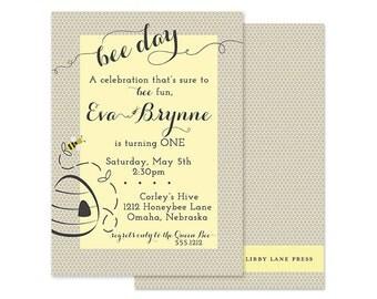 BEE Day Birthday Invitation, yellow and gray, honeybee, PRINTABLE by Libby Lane Press
