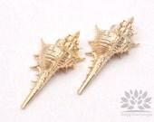 P555-01-MG// Matt Gold Plated Lace Murex Seashell Pendant, 2 pcs