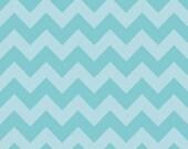 "Aqua Blue Chevron - Tone on Tone Chevron by Riley Blake 44/45"" wide- 1 yard"