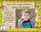 Safari Birthday Invitation - Monkey Jungle Safari Boy Animals - Custom Photo Printable