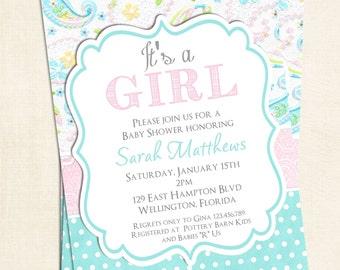 Baby Girl Shower Invitation Shabby Chic Paisley Baptism or Christening Printable Invite