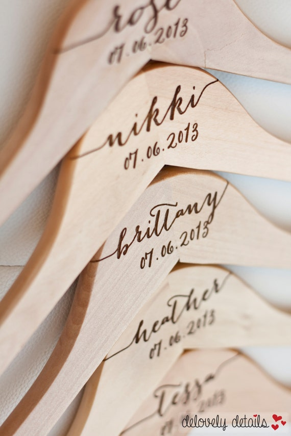 6 Personalized Bridesmaid Hangers Engraved Wood