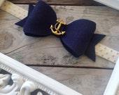 Nautical Navy Blue Anchor Felt Bow Headband Baby Headbands Newborn Photo Prop Baby Girl Headbands Toddler Headband Girls Headbands