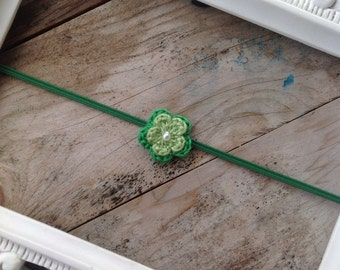 St. Patrick's Day Itty Bitty Crochet Green Flower Headband Newborn Photography Prop Baby Girl Headbands Toddler Headbands