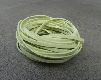 10Yds (900cm or 30Ft)- Pastel Baby Green Faux Suede Cord, Lace (FS3-93)