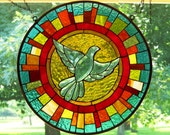 Sunny Dove - bright, colorful, round, stained glass panel