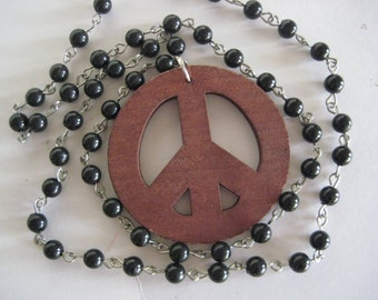 Long Wooden Peace Sign Necklace