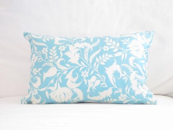 Items similar to lumbars light blue white floral pillow for Light blue throw pillows