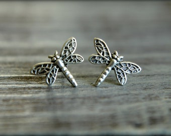 Dragonfly Earring Studs in Antiqued Silver, Surgical Steel Posts