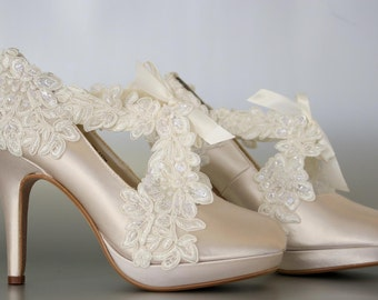 Wedding Shoes -- Champagne Platform Wedding Shoes with a Ivory Lace Overlay and Ivory Lace Strap