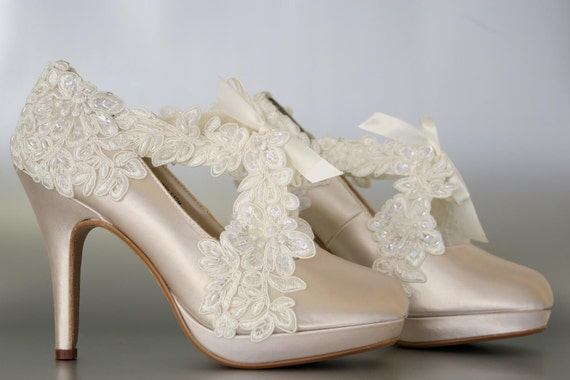 Wedding Shoes Champagne Platform Wedding Shoes with a Ivory by ...
