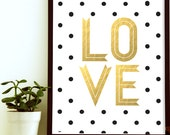 Love Nursery Art- Nursery Art Print- Gold Nursery Decor- Gold Nursery Art- Gold Nursery Print- Gold Nursery Letters- White and Gold Nursery