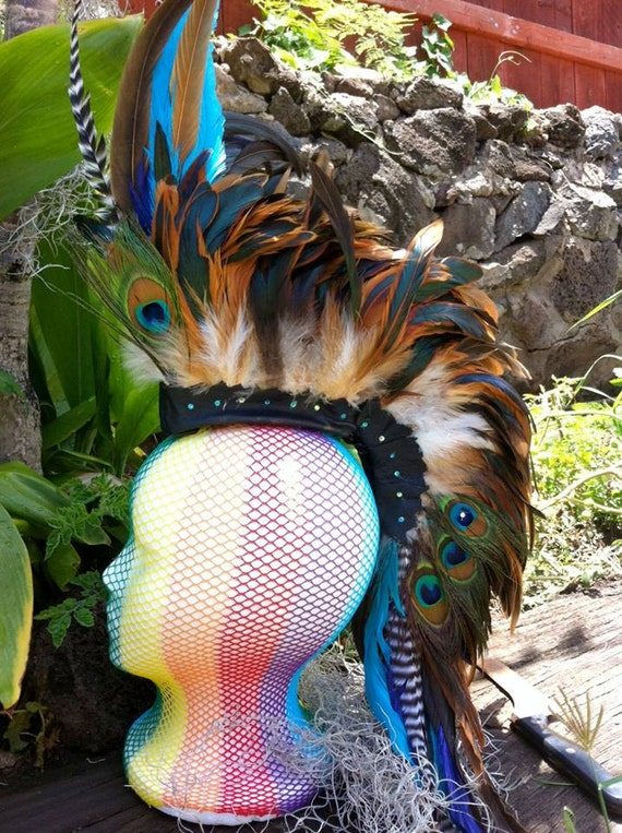 "Feather Mohawk  - ""Mahina Moon Goddess"" (Customizable)"