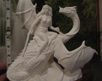 RARE, Female Dragon Warrior, Dragon Rider, Fighting Dragon, Vintage Dragon, Viking Warrior,Renaissance,Ready to paint,Ceramic bisque,u-paint