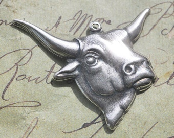 Brass Steer Head Charms, TWO, Sterling Silver Ox Finish - Steampunk  Supplies by CalliopesAttic