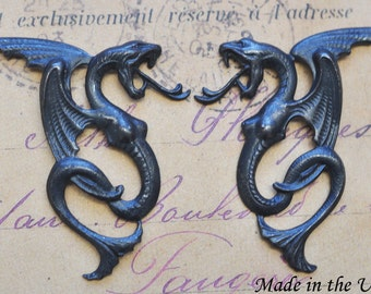 Steampunk Winged Snakes, Brass, Black Satin Finish, Left and Right Brass Stampings