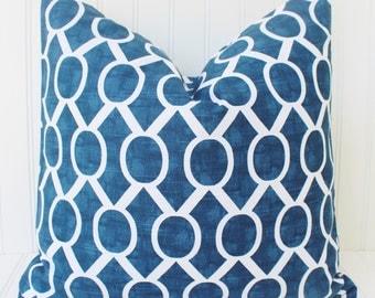 Blue Pillow, Decorative Throw Pillows, Toss Pillow, Blue Pillow, Pillow Covers, 20 x 20  Blue Circles, Trellis, Chain Link