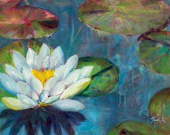 Lotus flower, lily pads, impressionistic oil painting, lotus art, lily pad painting, white flower, spring art, flower art, white lotus