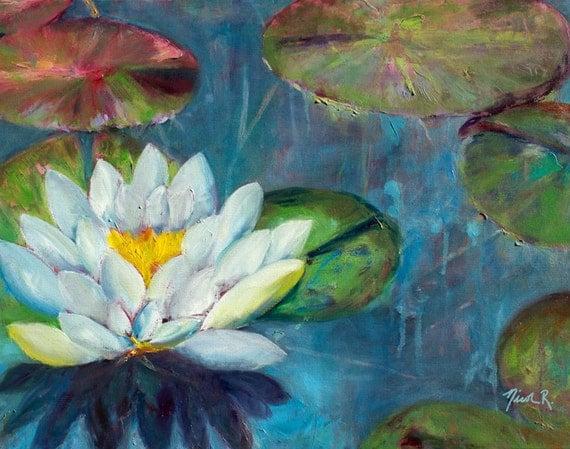 Lotus flower, lily pads, impressionistic oil painting, lotus art, lily pad painting, white flower, spring art, flower art, white lotus