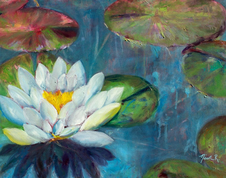 Lotus Flower Lily Pads Impressionistic Oil Painting Lotus