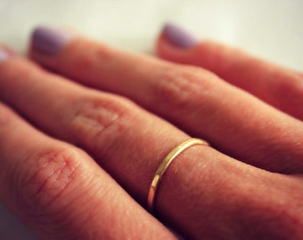 Gold stacking ring, 14k gold fill stacking ring, rustic hammered band