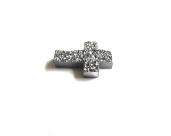 Silver Drusy Cross Bead with Holes