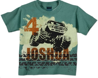 Monster Truck Number Shirt, Personalized Boys Teal and Orange  T-Shirt, Top