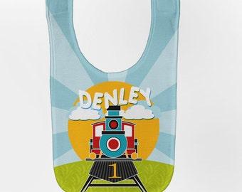 Train Baby Bib, Personalized Baby Bib, Steam Engine Baby Boy Bib, Custom Infant Bibs